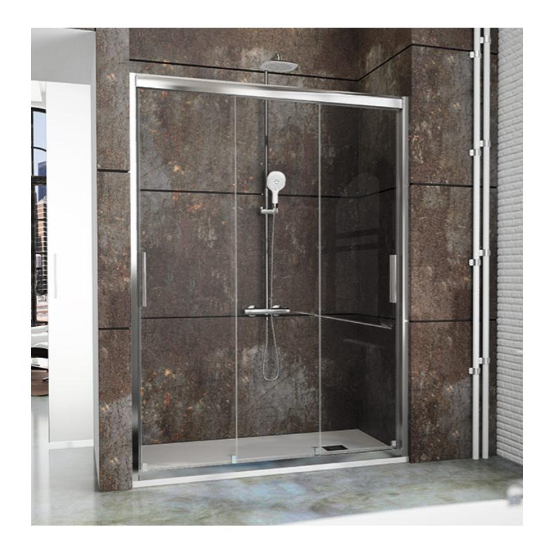 Mampara ducha barata latest mampara de ducha frontal con un fijo y una puerta corredera acero - Mampara para ducha ...