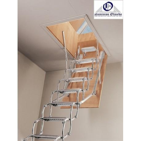 Escaleras escamoteables de tijera metalica zx terraza for Oferta escalera aluminio