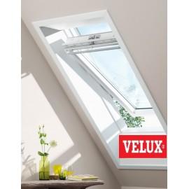 Velux ventana giratoria GGU 0076 poliuretano blanco y vidrio protección solar